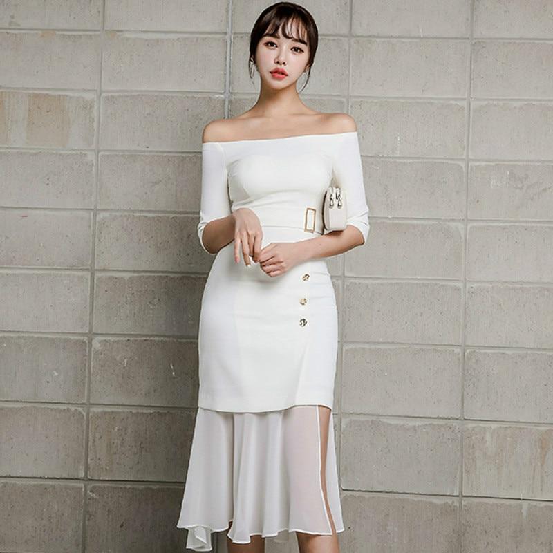 Summer Women Mermaid Dress 19 Plus Size White Half Sleeve Slash Neck Button Vintage Elegant Dress Chiffon Midi Dresses Elbise 2
