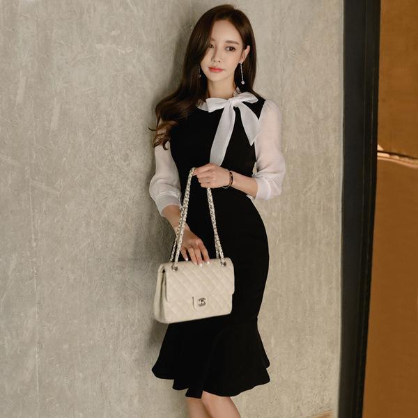 Half Sleeve Color Block Mermaid Sheath Dress Black White Patchwork Women Sexy Bodycon Vintage Elegant Party Dress 2
