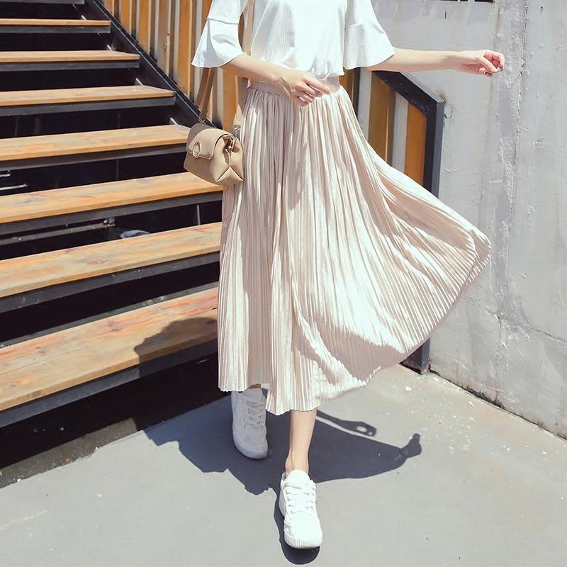 Silver Gold Pleated Skirt Womens Vintage High Waist Skirt 18 Winter Long Warm Skirts New Fashion Metallic Skirt Female 2