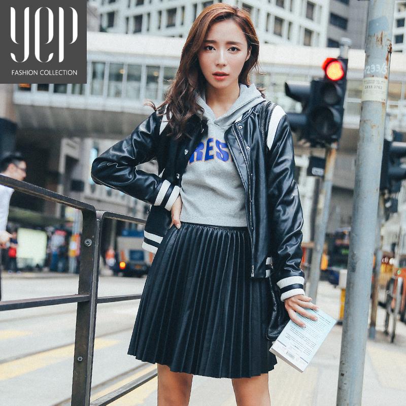 New 17 autumn fashion A type pu leather pleated skirt women elastic waist high quality original black mini skirt women faldas 1