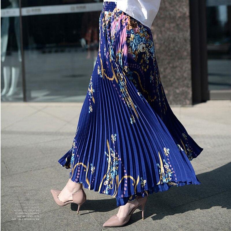 Long Princess Women Chiffon Pleated Skirt Vintage High Waist Big Bottom Skirts Womens Saia Summer Style Jupe Femme Skirt