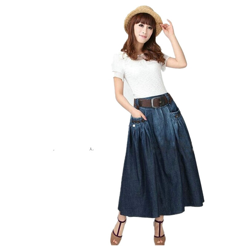Free Shipping 19 Fashion Summer Denim All-match Loose Casual Jeans Skirt Elastic Waist Long Skirt For Women With Belt S-2XL 2