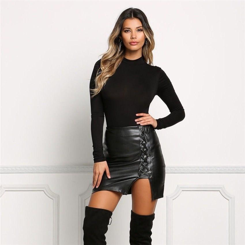 19 New Pencil Skirt Women Black Bodycon Bandage Skirts Zipper Lace Up Split Side Slit Party Club Wear Pu Leather Women Skirt 1