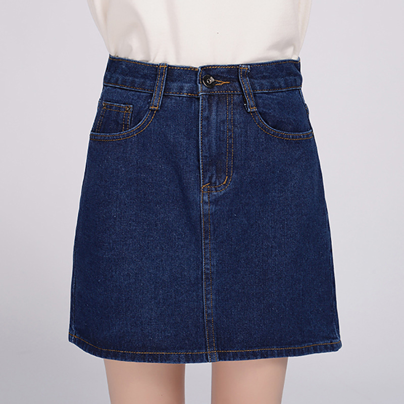 18 Denim Skirt Women Winter Autumn Vintage Casual Female A-Line Jeans Ladies Office Mini Skirt Saia Plus Size S-3XL 3 Colors 3