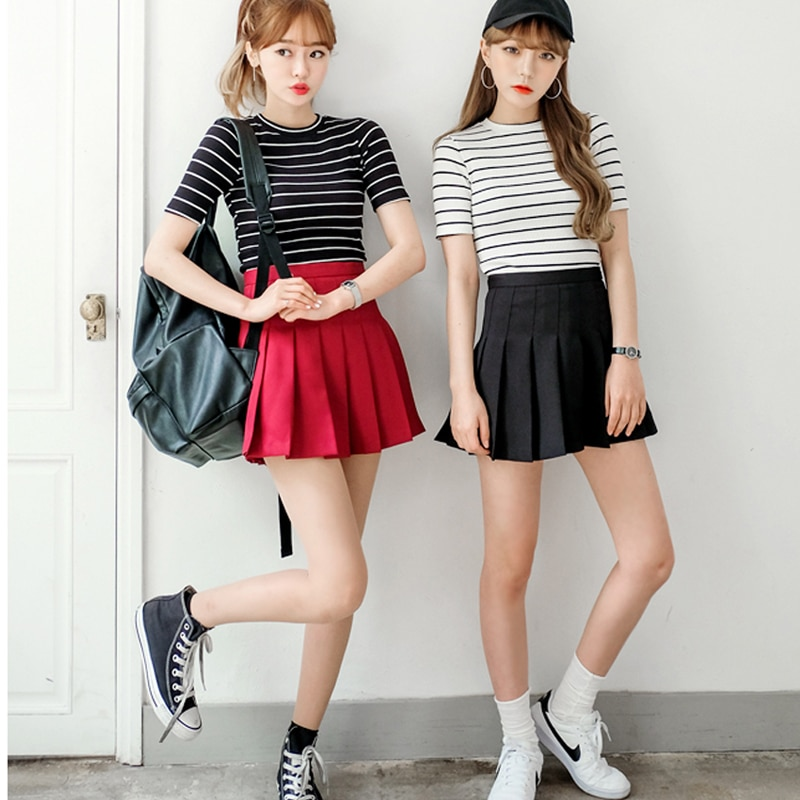 Water color Japanese high waist pleated skirts JK student Girls solid pleated skirt Cute Cosplay school uniform skirt 3