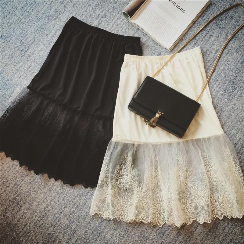 Women Lady Lace Mesh Slip Skirt Knee Length A-Line Floral Underskirt Petticoat Fashion Summer New White Black 904-733 2