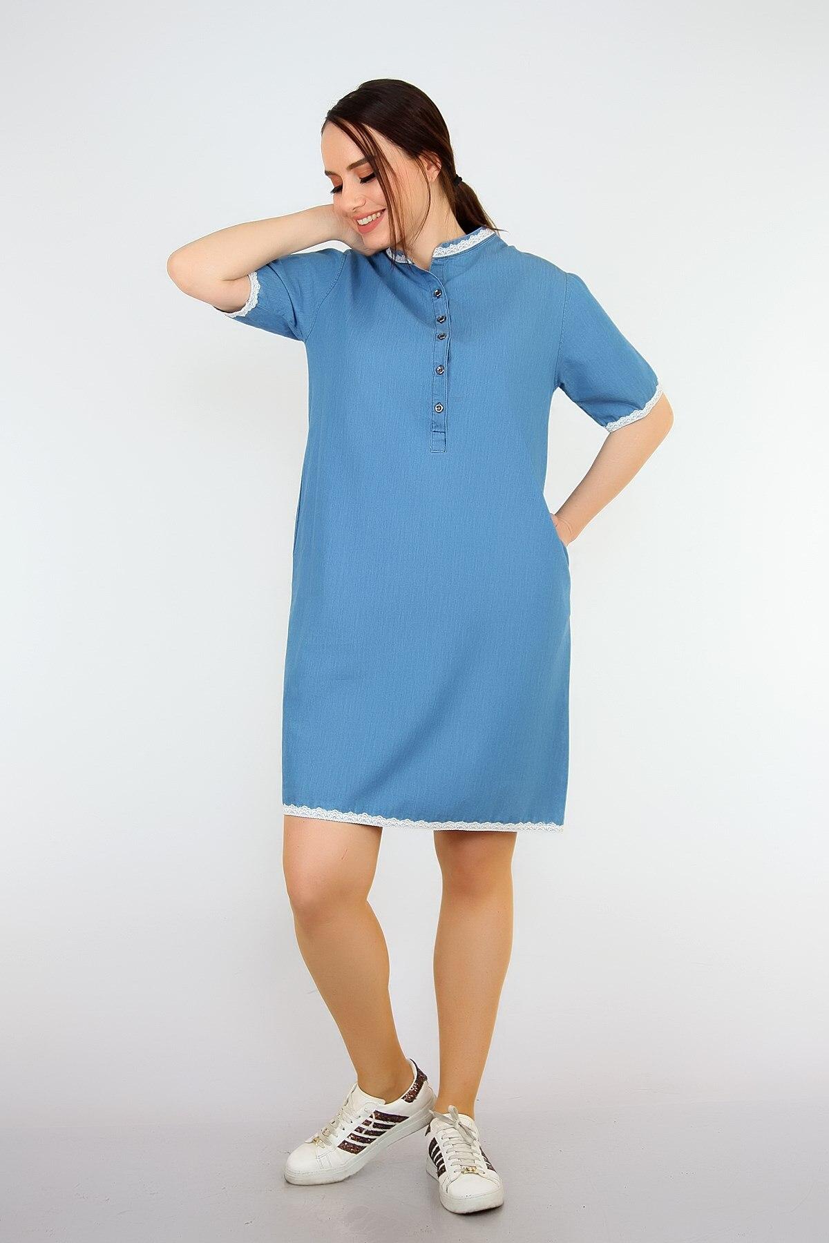 Pianoluce Women 'S Denim Lace Detail Half Sleeve Dress Blue 1387 3