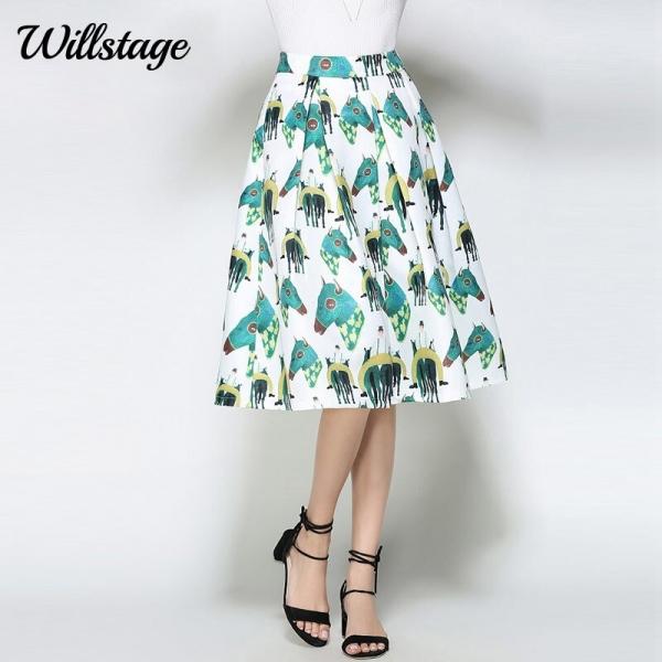 Willstage White Horse Printed Midi Skirts Women Elegant Retro Vintage Tutu Skirt fashion ball gown High Waist 18 Summer Spring