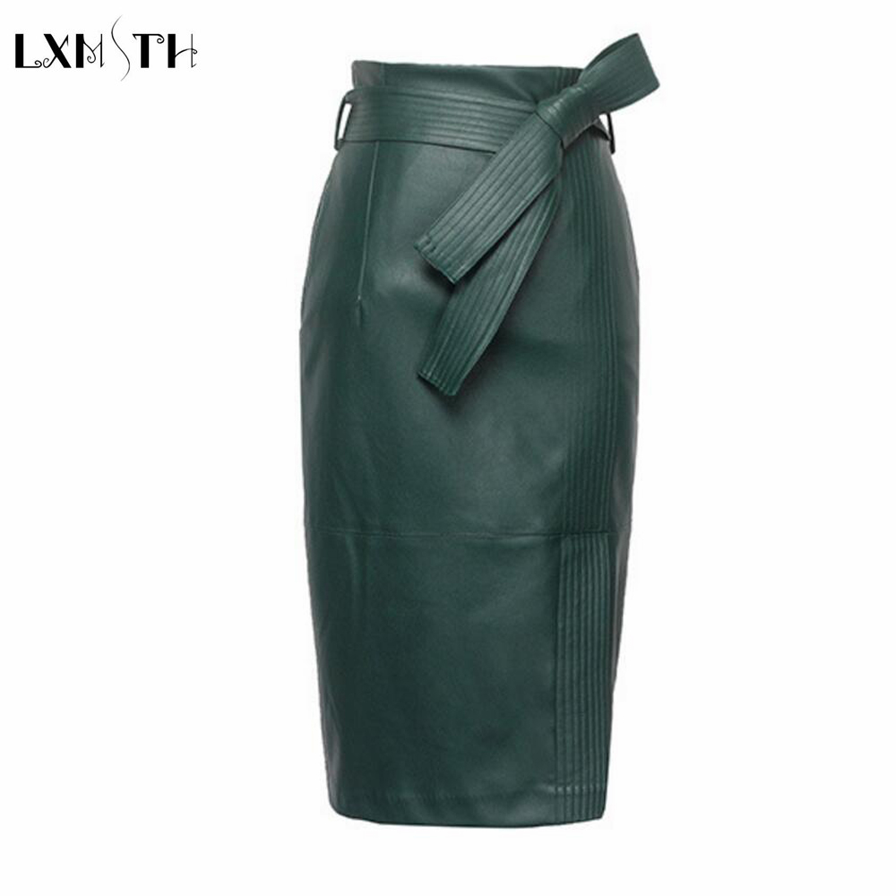 3XL 4XL PU leather Skirt Women Plus Size Autumn Winter Sexy High Waist Faux leather Skirts Womens Belted Fashion Pencil Skirt 1