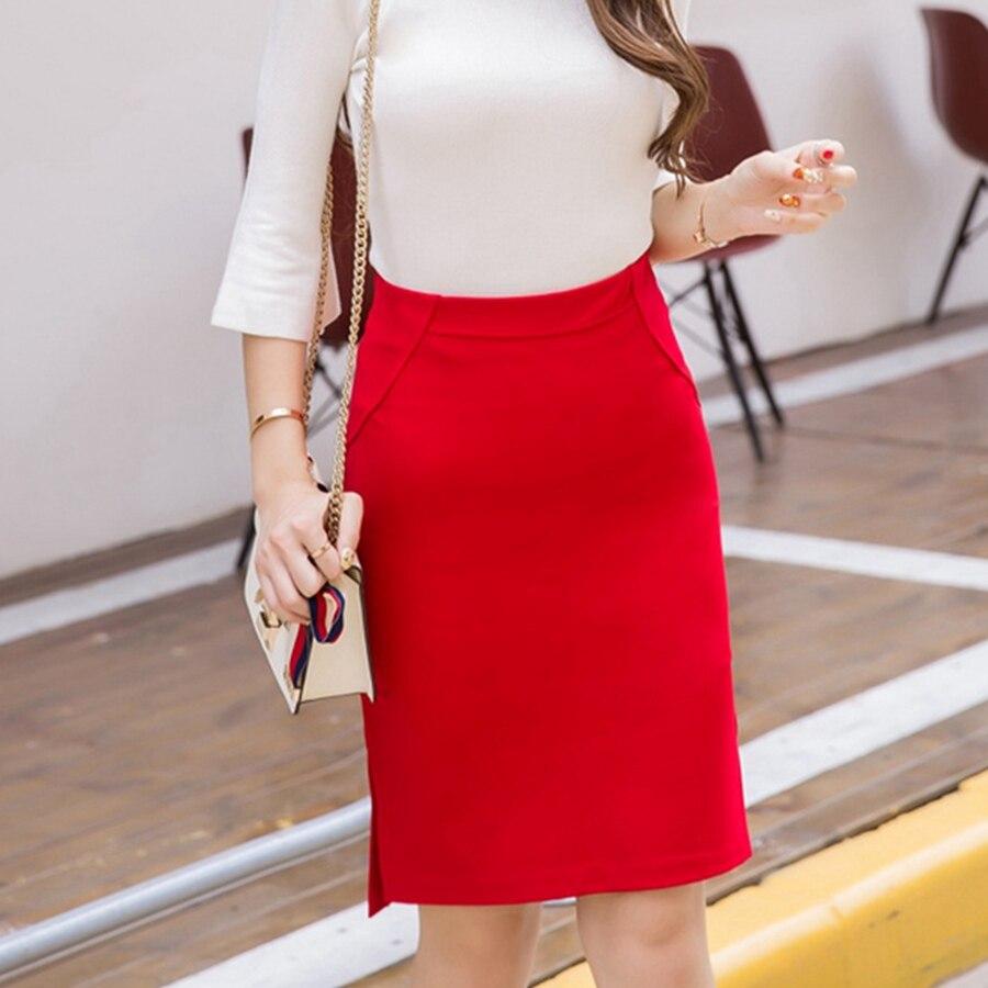 New Fashion Sexy Women Pencil Skirt Casual Slim Summer High Waist Split OL Office Ladies Plus Size Bodycon Work Skirts Black 2