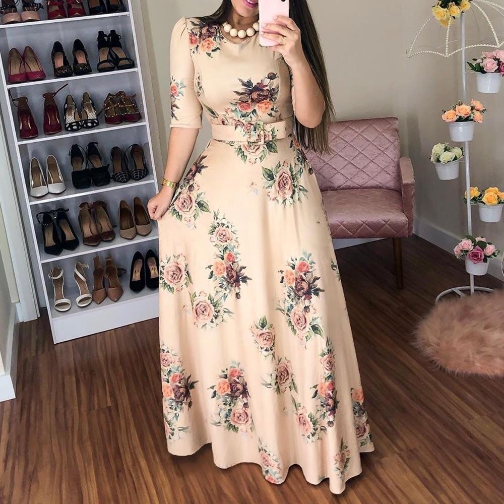 Women Summer Dress 19 Casual half Sleeve Long Dress Boho Floral Print Maxi Dress Elegant Dresses Belt High Waist Long Dresses