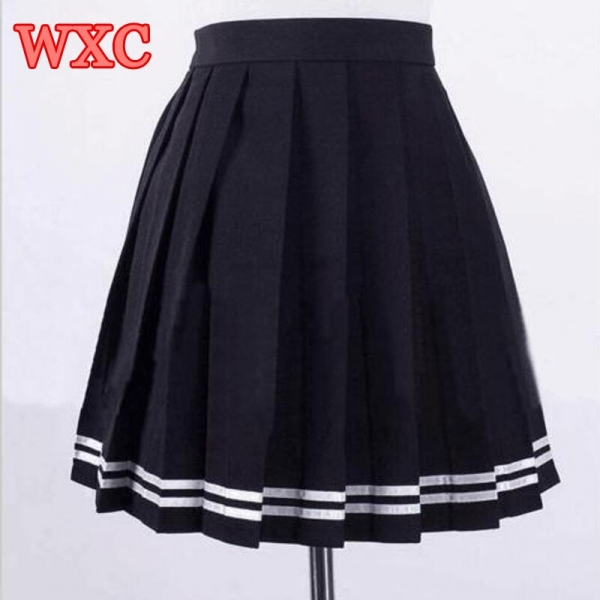 Japanese High Waist Pleated Skirts Anime Cosplay School Uniform JK Student Girls Solid Pleated Skirt Girls WXC