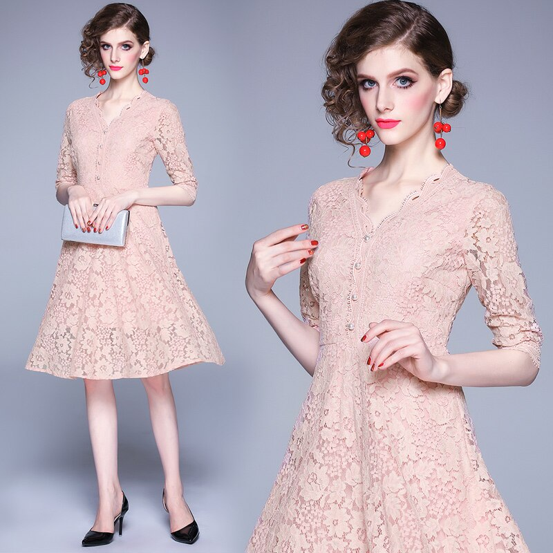 Women 19 Summer Dresses Hollow Out Women Half Sleeve Floral Crochet Casual Pink Lace Dress Femininas Vestidos 3