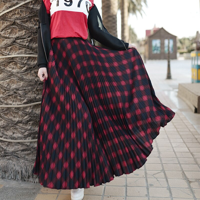 Womens Vintage Elastic Waist Women Long Pleated Skirts High Waist Ladies Skirts Length Women Maxi Skirts Faldas Saia 17