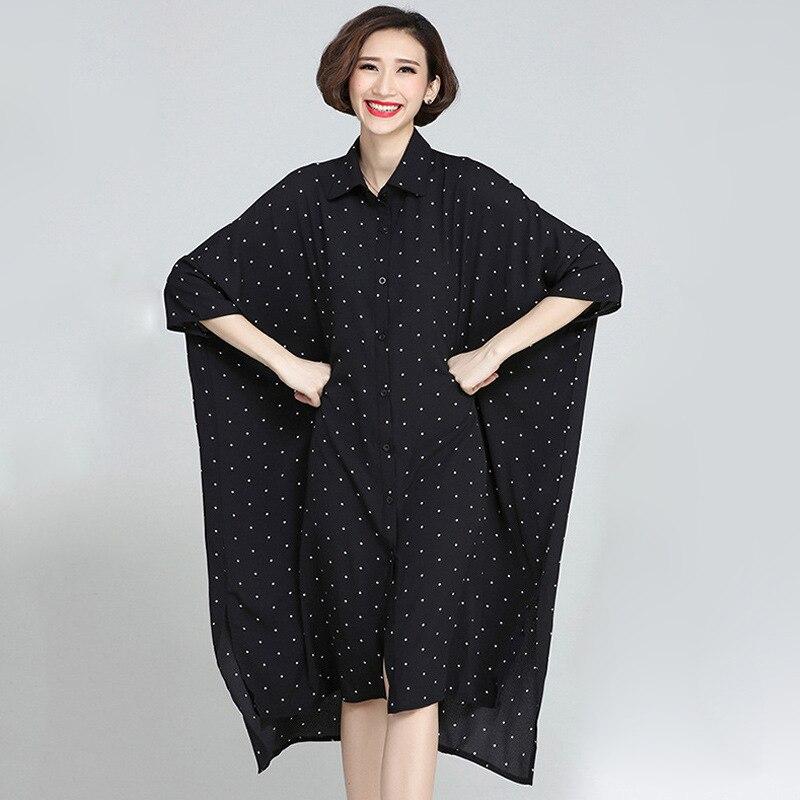 Johnature 19 Summer Plus Size Korean Wave Point Dresses Women New Turn-down Collar Half Sleeve Irregular Casual Dress 2