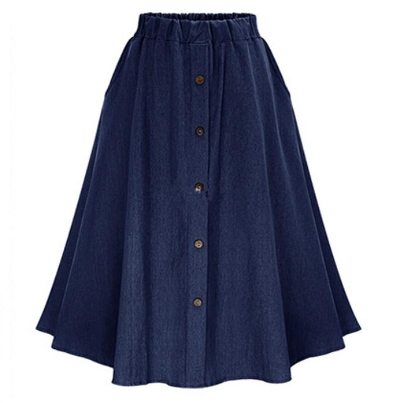 Retro High Waist Denim Skirts Loose Solid Thin Jean Faldas Mujer Fashion Single Breasted Jupe Cozy Summer 17 Women Skirts 3