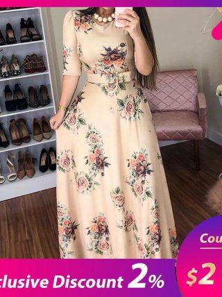 Women Summer Dress 19 Casual half Sleeve Long Dress Boho Floral Print Maxi Dress Elegant Dresses