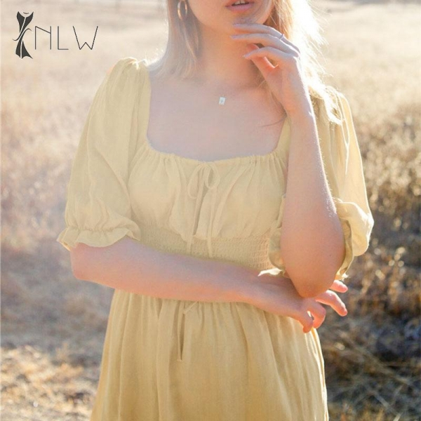 NLW Vintage Puff Sleeve Yellow Dress Women 19 Autumn Half Sleeve Short Dress Elegant Holiday Korean Mini Dress Vestidos