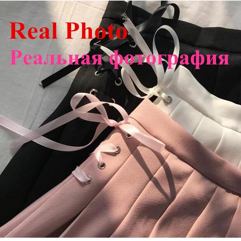 Summer New Fashion Solid Denim Pleated Skirt Harajuku Lace-Up Hight Waist Casual Sexy Micro Mini Short School Skirts Women 3