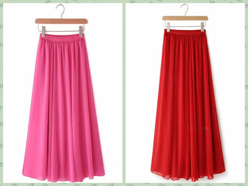 Women Chiffon long skirt Candy Color Pleated Women Skirts 18 Summer Skirts in floor 100cm length 19Colors long saia 2