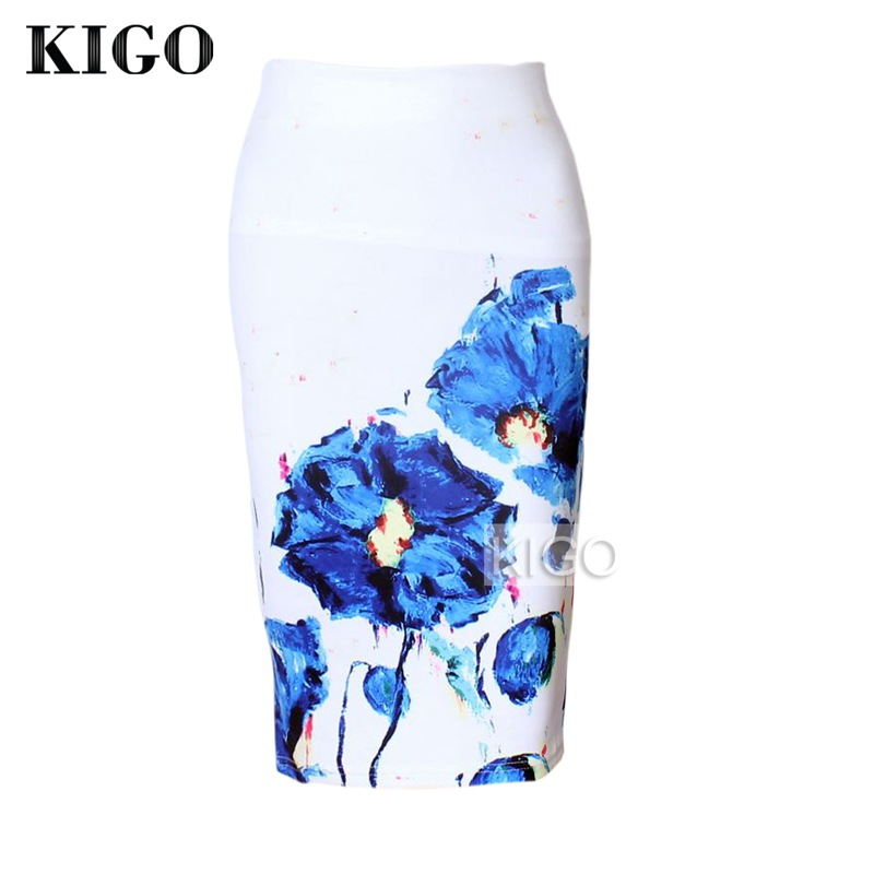 KIGO Womens Pencil Skirts Floral Print Sexy Slim High Waist Women Bodycon Skirt Ladies Vintage Midi Skirt Jupe Femme KD2967H 1