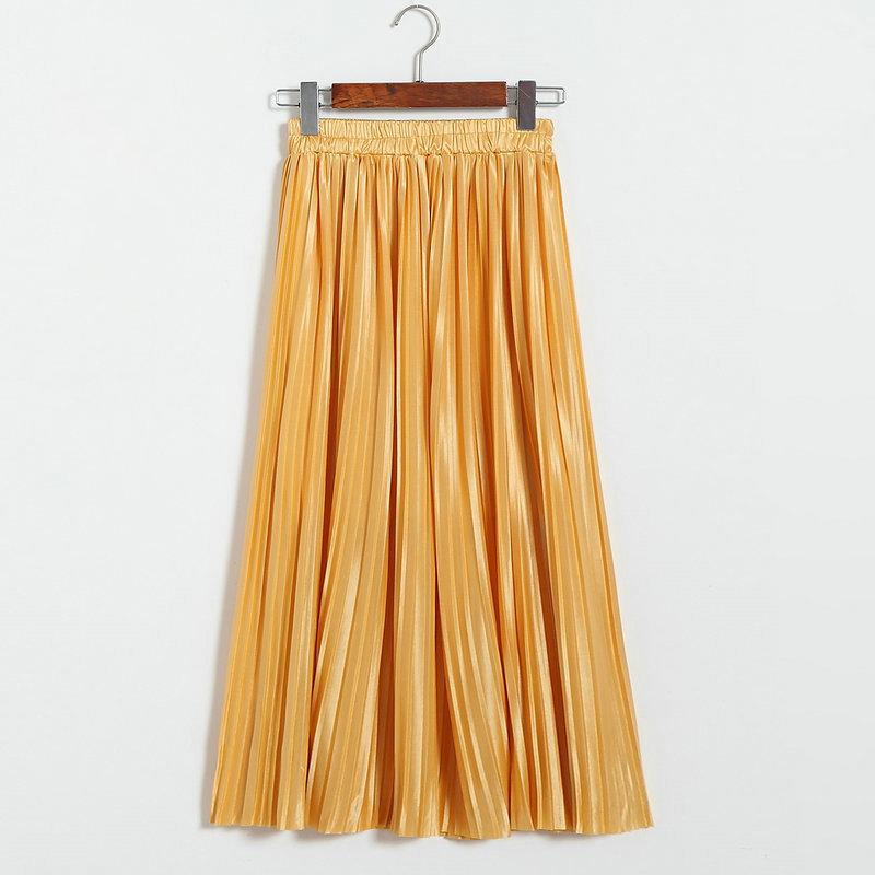 Silver Gold Pleated Skirt Womens Vintage High Waist Skirt 18 Winter Long Warm Skirts New Fashion Metallic Skirt Female 3