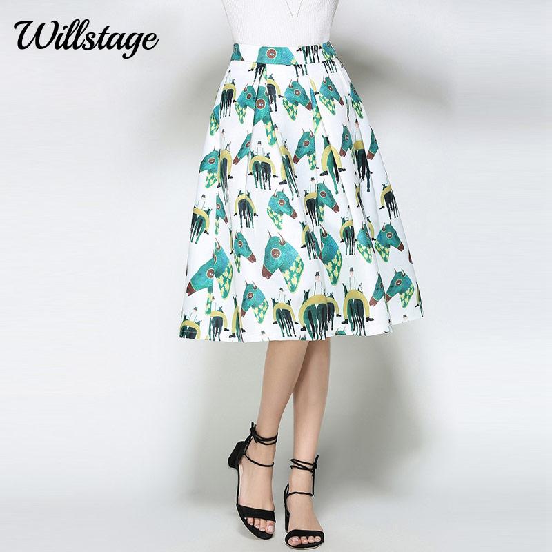 Willstage White Horse Printed Midi Skirts Women Elegant Retro Vintage Tutu Skirt fashion ball gown High Waist 18 Summer Spring 1