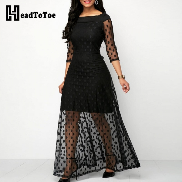 19 Women Elegant Dot Design Mesh Lace Maxi Dress Female Slim Fit Sexy Half Sleeve Casual Long Dresses Streetwear