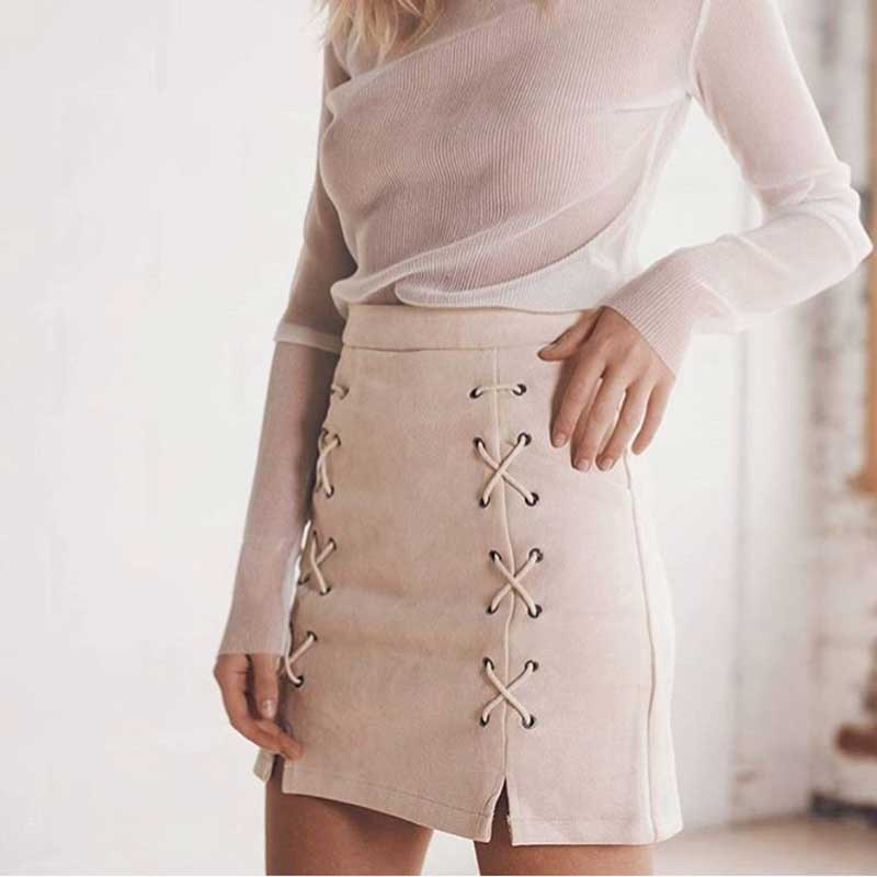 Hot Sale Lace Up Women's Suede Skirts Winter Autumn Spring Casual High Waist Pencil Skirts Mini Skirt Black Nude New Size S-XL 2