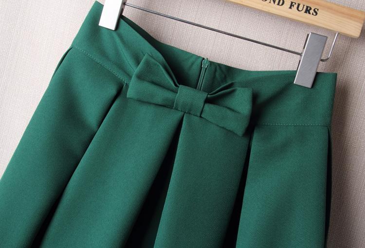 BACHASH Elegant Women Skirt High Waist Pleated Knee Length Skirt Vintage A Line Big Bow Red Black Side Zipper Skater Skirts Red 3