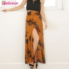 New New Boho Print Long Skirt High Waist Floral Beach Female Skirt Chic Split Maxi Skirts Womens Summer Vintage Saia Longa