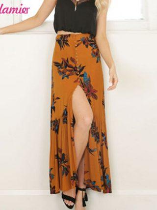 New New Boho Print Long Skirt High Waist Floral Beach Female Skirt Chic Split Maxi Skirts Womens Summer Vintage Saia Longa