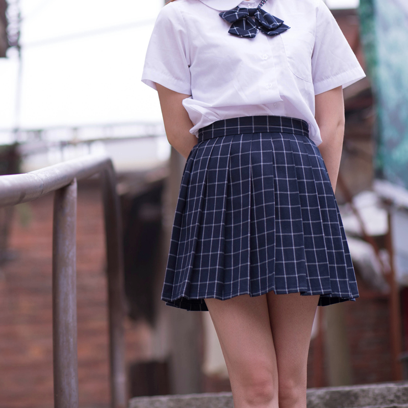 Navy blue/Gray classical Grid pleated skirts Japanese school Girls student high waist plaid pleated skirt Cosplay school uniform