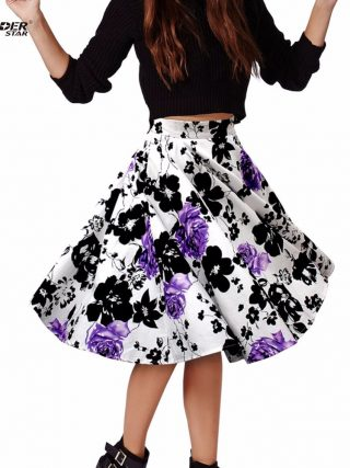 THUNDERSTAR Ladies Skirts 17 Summer Women Skirt Vintage Floral Print High Waist Ball Gown Pleated Midi Skater Skirts Saias