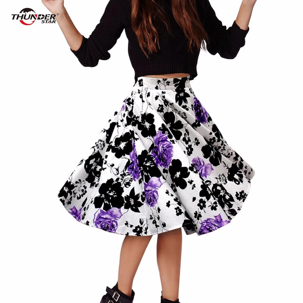 THUNDERSTAR Ladies Skirts 17 Summer Women Skirt Vintage Floral Print High Waist Ball Gown Pleated Midi Skater Skirts Saias