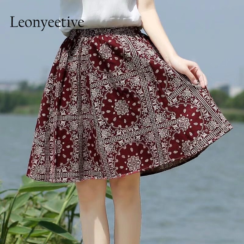 Leonyeetive 18 new Spring Summer Casual Floral Fashion linen Skirts Women Cotton Linen girl lady short Skirt 2