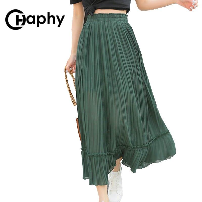 Solid Pleated Chiffon Ruffle Skirts High Waist Skirt 18 Women Fashion Long A Line Ruffle Chiffon Skirts Summer Maix Skirt