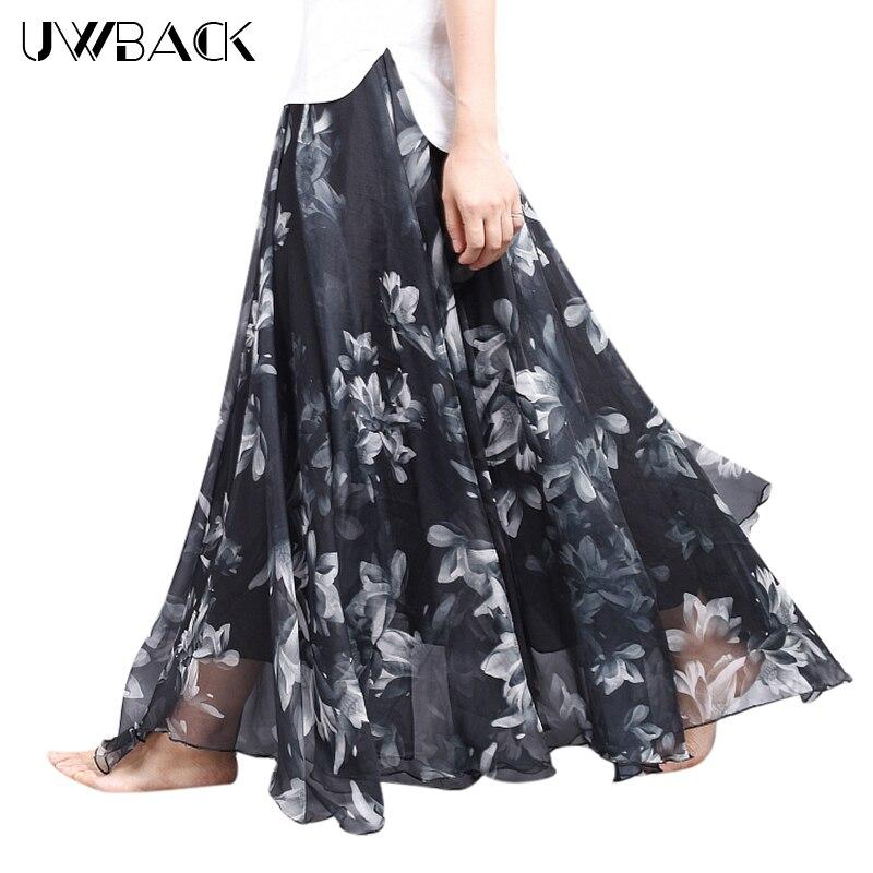 Uwback Women Chiffon Skirt Floral Floor Length Women Long Maxi Skirts Loose Boho Beach Skirt 19 New Summer Fashion Wear, EB129