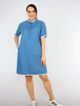 Pianoluce Women 'S Denim Lace Detail Half Sleeve Dress Blue 1387