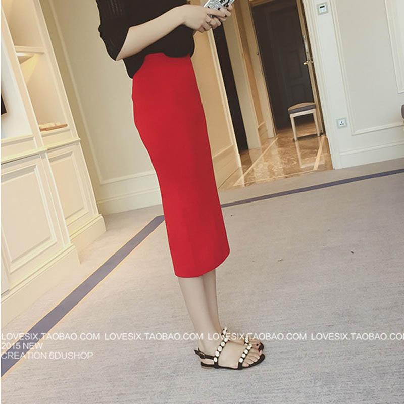 16 Spring autumn and winter when the bag hip skirt step skirt stretch slim slim skirt waist in female 3