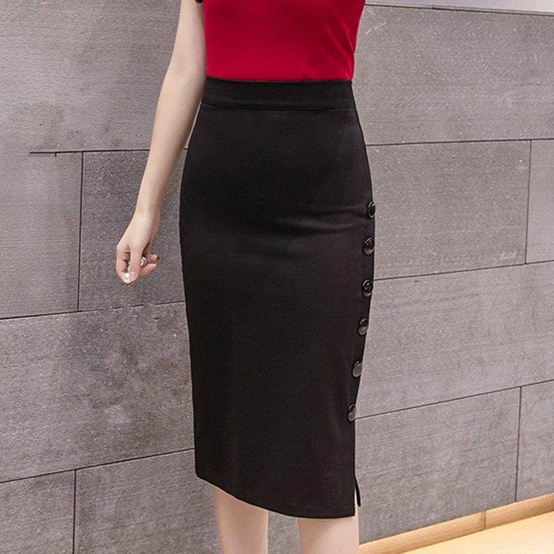 Plus Size 19 Fashion Women Work Midi Skirt OL Sexy Open Slit Button Slim Pencil Skirt Elegant Office Ladies Skirts Red Black 3