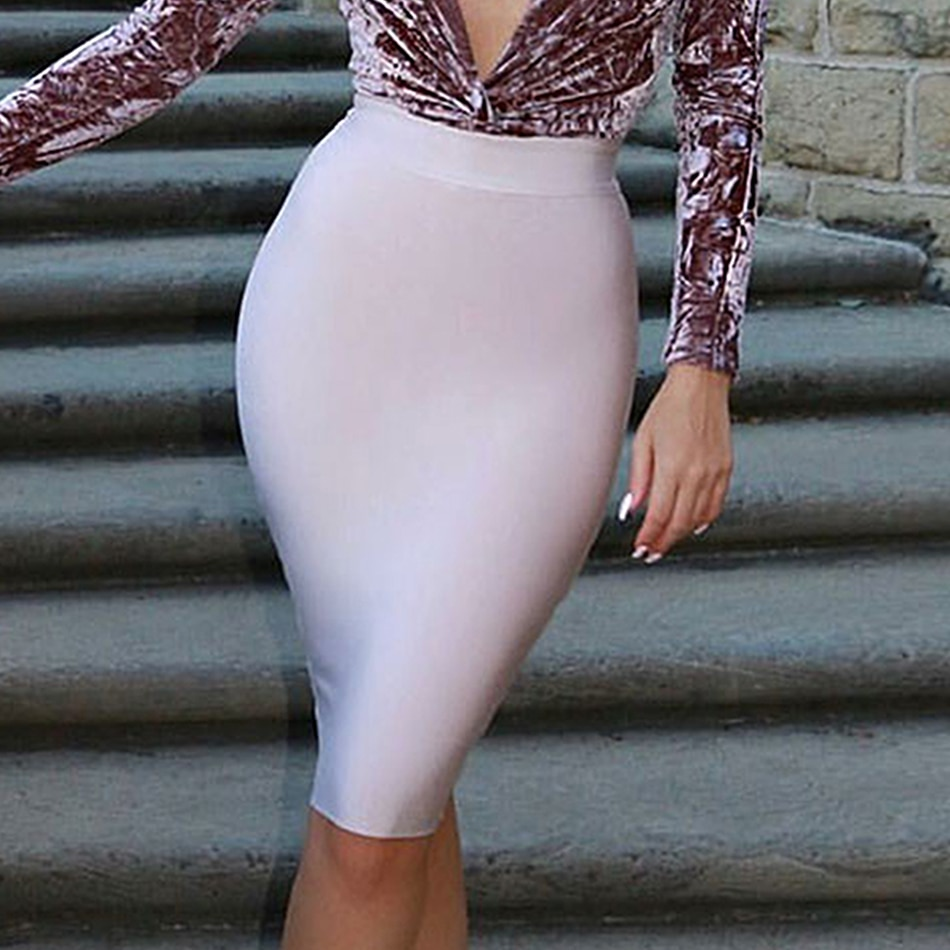 19 Stretchy Elastic Women Knee Length Celebrity Bandage Skirts Sexy Slim Solid Color Pencil Skirt Drop Shipping HLS113 2