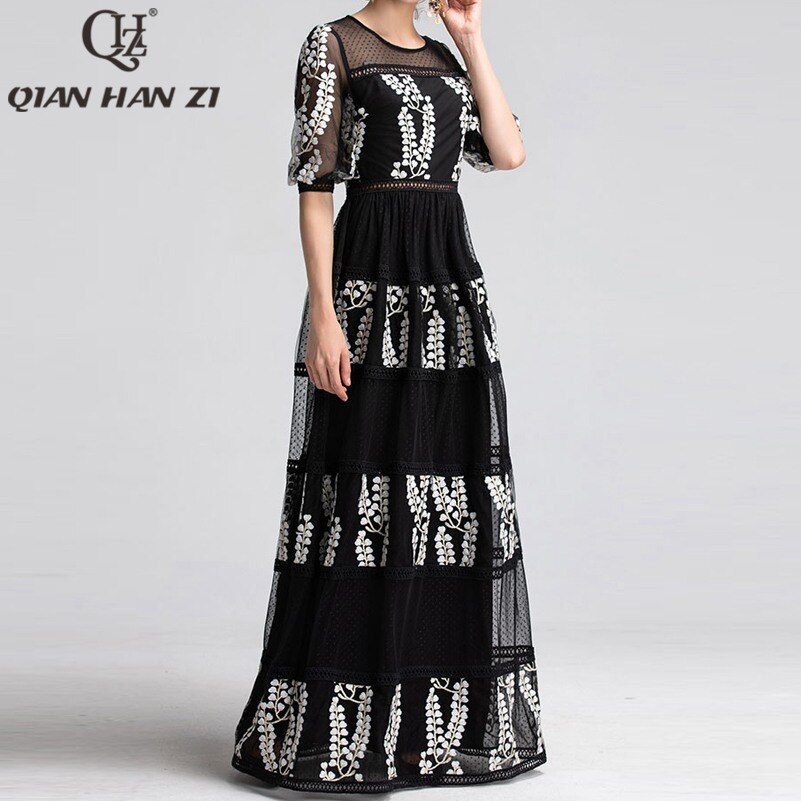 Qian Han Zi newest Designer Runway Maxi Dress Women Half Sleeve Mesh Embroidered Hollow Out Lace Vintage black party Long Dress 3