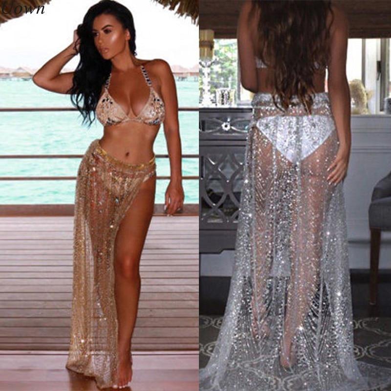 Summer Sexy Beachwear Rhinestone Long Sequin Skirt Loose Side Split Mesh See Through Gold Maxi Glitter Skirt Sparkle Female 2