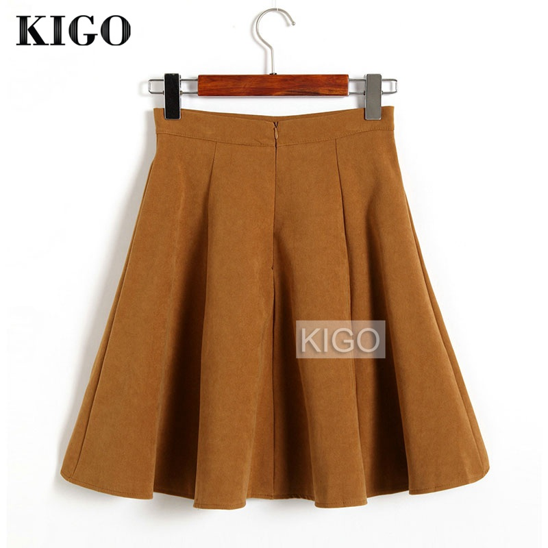 KIGO Autumn Winter Skirts Women 18 Suede Skirt High Waist Flared Skirt Knee-Length Midi Casual Vintage Skirt Faldas KJ1065H 2