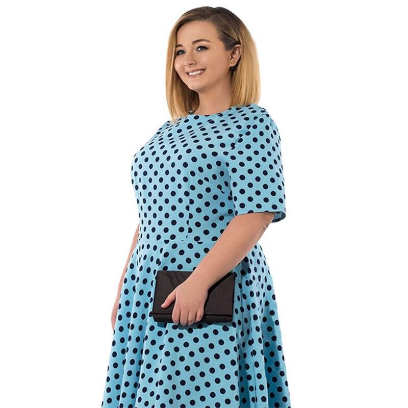 18 Women Summer Casual Dress Loose Knee Length Dresses Elegant Dots Printed Plus Size O-Neck High Waist Half Sleeve Dresses 3
