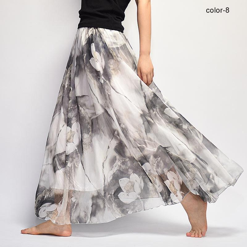 New Fashion 18 Women's BOHO Elegant Florals Print Chiffon Long Skirt Ladies Slim High-Waist Elastic Waist Pleated Skirts SK15 3