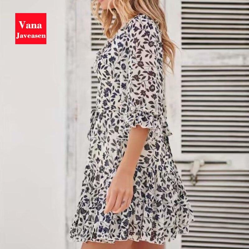 Vana Javeasen Boho Half Flare Sleeve Women Dress Summer V-Neck Ruffle A-Line Womens Dresses Bandage Backless Beach Party Dress 3
