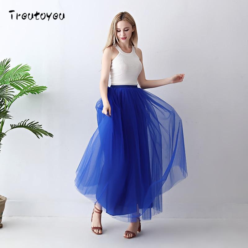 Treutoyeu 5 Layers Maxi Long Women Skirt Tulle Skirts Bridesmaid Wedding Skirt Free Size Faldas Saias Femininas Jupe 2