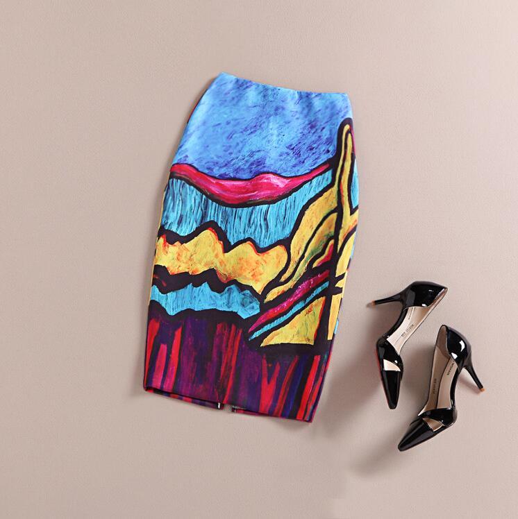 Fashion Women 16 New Print Office Skirt Spring Summer Knee-Length Pencil Back Split Skirts High Quality Faldas Saia Midi Femme 3